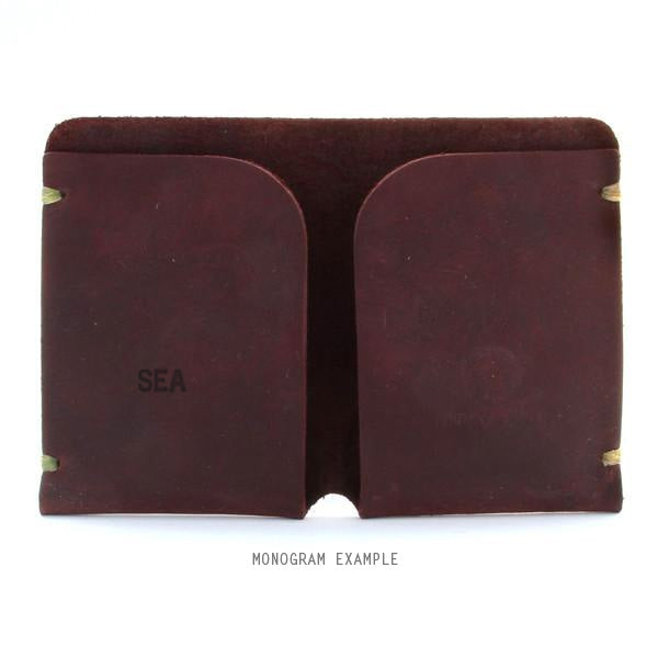 Brown monogrammed minimal leather card holder