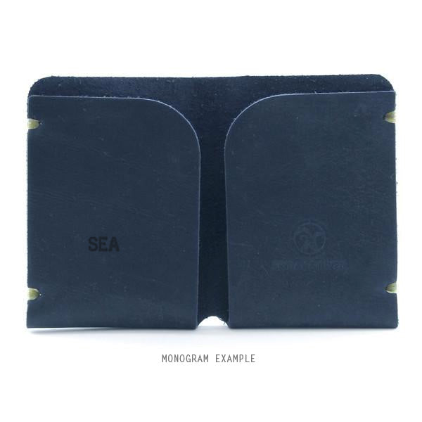 Indigo leather card holder monogrammed