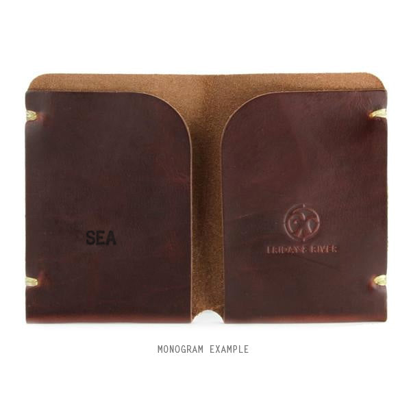 Tan Horween Chromexcel Leather Card Holder Monogrammed