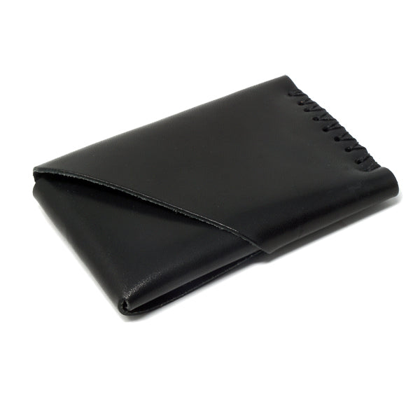 Minimal leather wallet black back angle