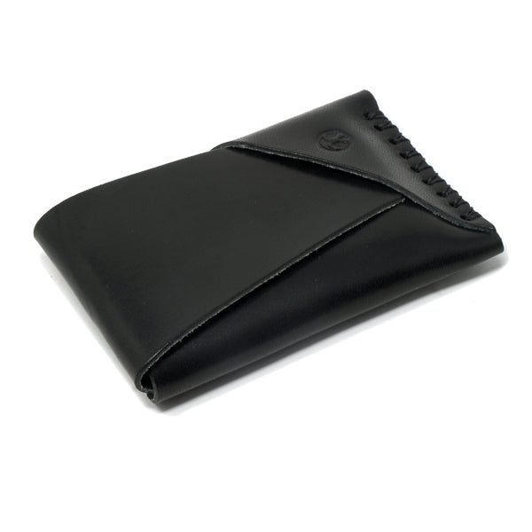Minimal slim leather card holder black front angle