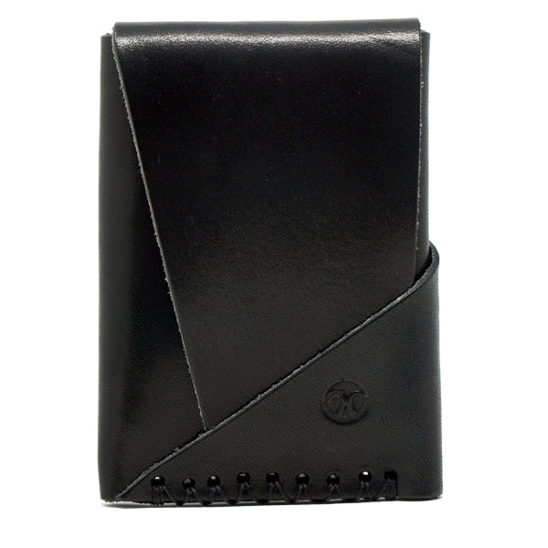 Minimalist EDC leather wallet black front