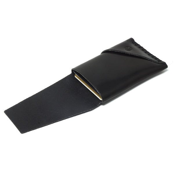 Minimal EDC leather card holder  black open with cards