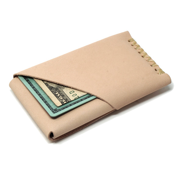 Minimalist leather veg tan EDC wallet card holder with cards and cash