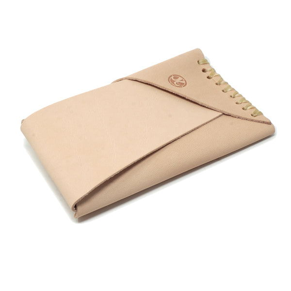 Minimal leather veg tan front pocket EDC wallet card holder front angle