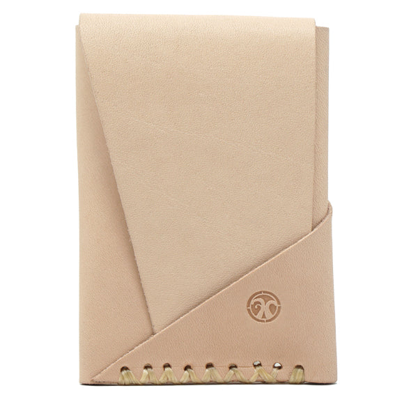 Minimal leather veg tan EDC wallet card holder front