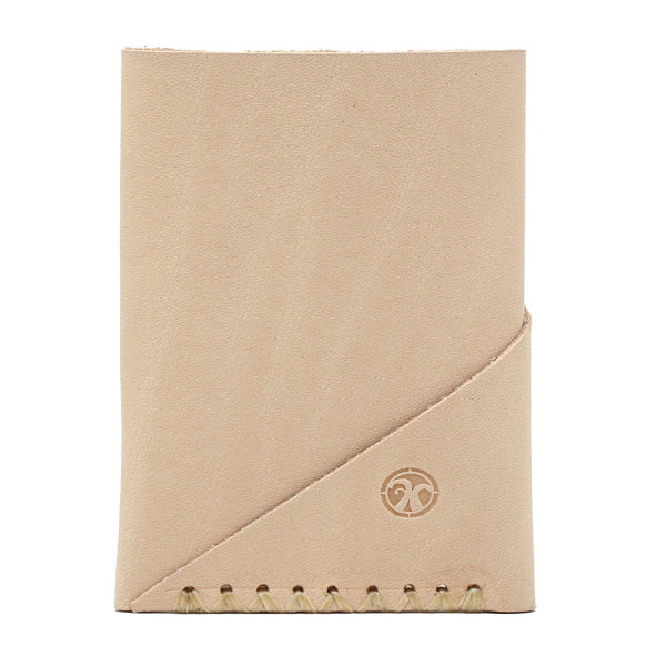 Super Minimal Natural Veg Tan leather front pocket card holder front