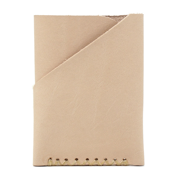 Minimalist natural veg tan leather front pocket card holder Back