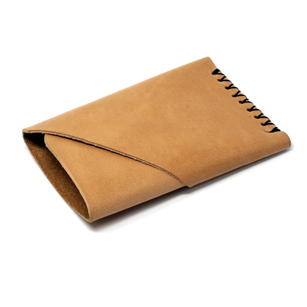 Minimalist light brown leather EDC front pocket wallet angle
