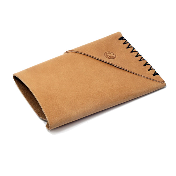 Minimalist light brown leather EDC front pocket wallet angle front