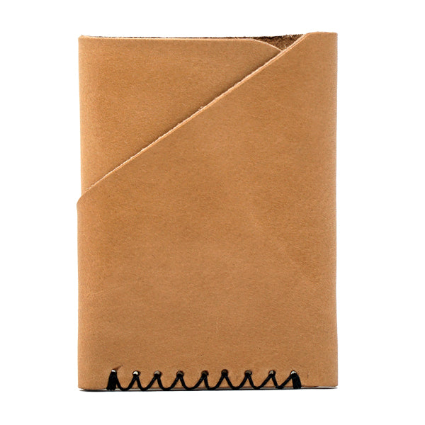 Minimalist light brown leather front pocket card holder Back