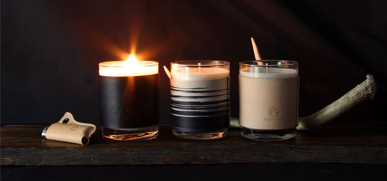 Leather wrapped hand poured soy candles