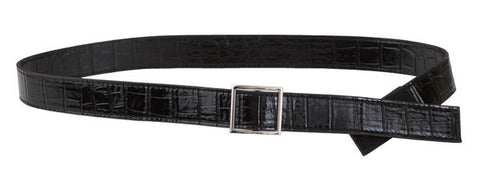 Black Patent Alligator Belt