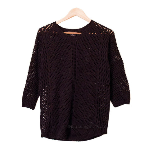 Chelsea & Theodore Women 3/4 Sleeve Pullover Loose Knit Crochet Sweater
