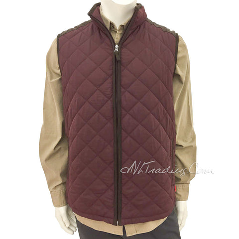 Coleman Men's Quilted Vest With Faux Suede Trim Red Cordovan