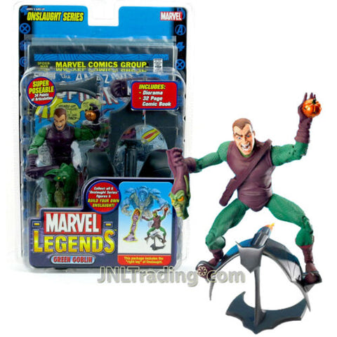 Year 2006 Marvel Legends Onslaught 6 Inch Tall Figure Unmasked GREEN GOBLIN