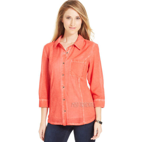 NWT Style & Co. Mineral Wash Button-Down Shirt 3/4 Sleeves Cotton Woven L-XL