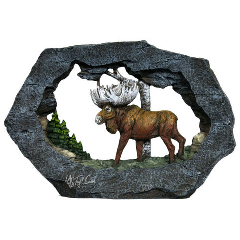 "Regal Elites Vista Feather Series 9"" Long Wildlife Sculpture MOOSE on The Rock"
