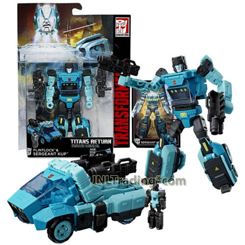 Yr 2016 Transformers Titans Return Deluxe Class Figure FLINTLOCK & SERGEANT KUP