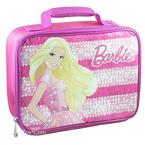 NEW Thermos Mattel Pink Sparkle Jewel Barbie Lunch Box Insulated Snack Bag Tote