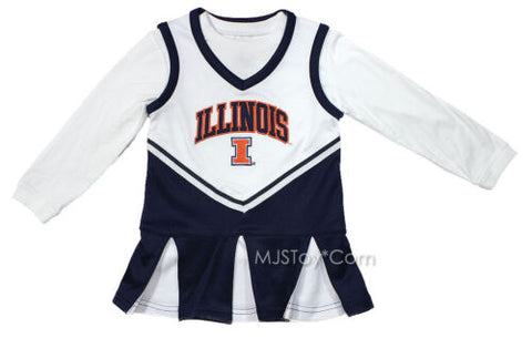 NWT University of Illinois Cheerleader Toddler 2 Piece Outfit Dress Embroidered