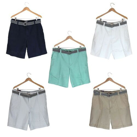 NEW IZOD Men Flat Front Belted Khaki Short Classy Chinos Cotton Shorts 34-42 $55
