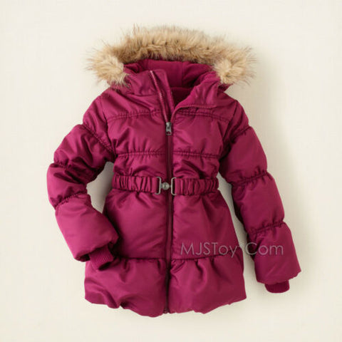 NWT Children Place Stylist Burgandy Belted Puffer Winter Jacket Warm Puff Coat