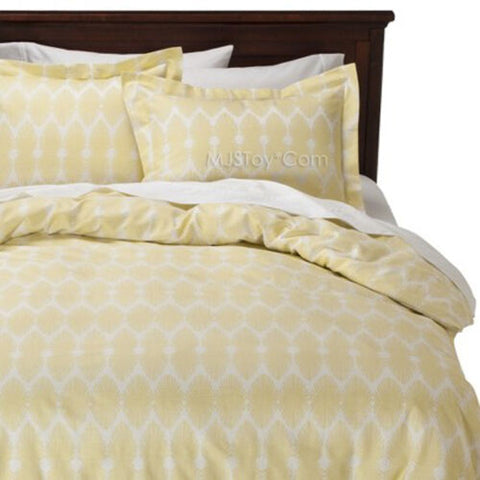 NEW Nate Berkus 3 Piece Brotch Duvet cover Set Lime Drop Cotton Full/Queen/King