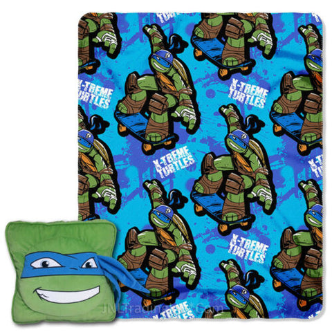 NWT Nickelodeon Teenage Mutant Ninja Turtles Square Leonardo Pillow Throw Set