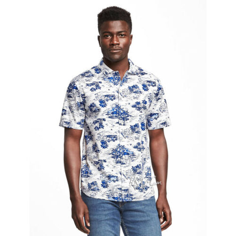 NWT Old Navy Men Slim-Fit Stylist Hawaiian Tropical Print Getaway Shirt for Men