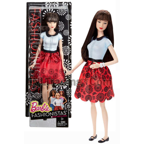 "Year 2015 Barbie Fashionistas 12"" Doll NEKO DGY61 in Ruby Red Floral Skirt"