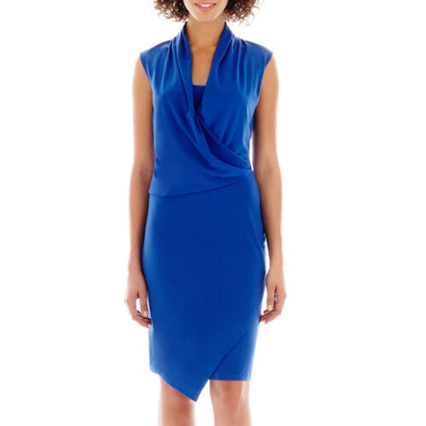 NWT Como Black Sleeveless Cobalt Blue Drape-Neck Faux-Wrap Dress Size S