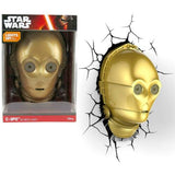 NEW 3D FX Star Wars C-3PO HEAD Deco LED Night Light+Crack Wall Sticker 3DLightFX