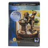 "NEW Classic Americana Series Bronze Playtime Friends 8"" LED Relaxing Fountain"