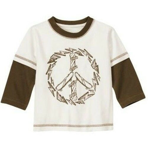 NWT Gymboree Peace Long Double Sleeve Boy T-Shirt Skateboard White Brown Tee 2T