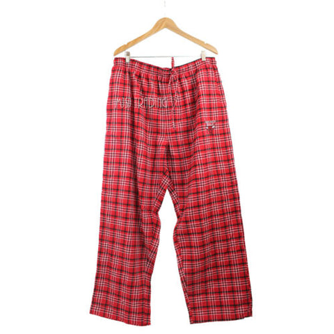 NWT NBA Chicago Bulls Red Plaid Pajama/Lounge/Sleep Pants Cotton Blend Size XXL