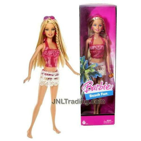 "NEW 2005 Barbie Beach Fun Series 12"" Doll Set in Pink Color Bikini Swimsuit"