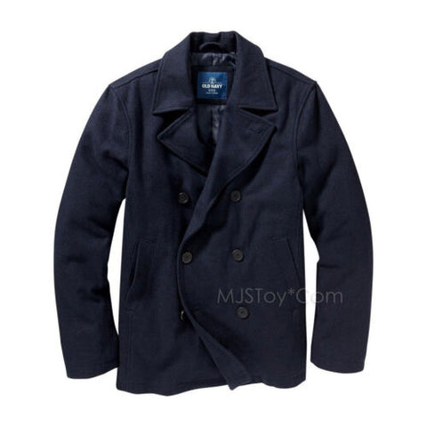 NWT Old Navy Men Wool Peacoat Dressy Winter Navy Blue Double Breasted Jacket M/L