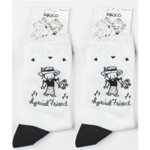 "NWT 2 Pair of Children Socks by Enesco ""Special Friend"" Black & White M 9-11"