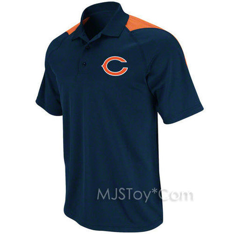 NWT NFL Chicago Bears Stylish Men Navy Polo Jersey Shirt Embroidered Team Logo