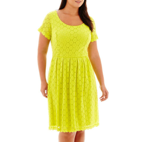 RN Studio by Ronni Nicole Short Sleeve Junior Plus CIRLE LACE DRESS - LIME Green
