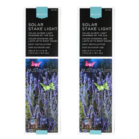 NIB HOME Outdoor Solar Stake Accent Rotating 8 Hr LED Light CUTE BUTTERFLY 2 Set