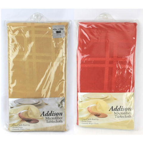 NEW Addison Microfiber Resist Stain Tablecloth Oblong Holiday Color Gold/Red