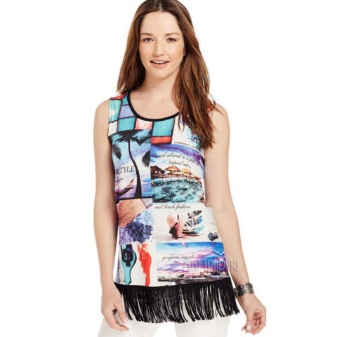 NWT Style & Co. Sleeveless Graphic-Print Fringe Summer Beach Style Tee T-Shirt