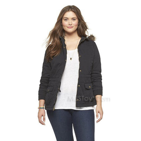 NWT Mossimo Supply Co. Plus Size Hooded Quilted Parka Jacket in Black XL/TG 14W
