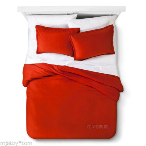 NEW Threshold Trade Solid RED Linen Cotton Blend 3 Pc Duvet Cover Set KING