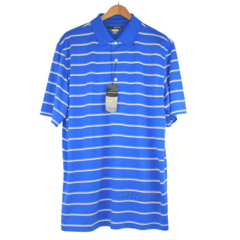 NWT Greg Norman Play Dry Moisture Wicking Royal Blue with Stripes Polo XL $65