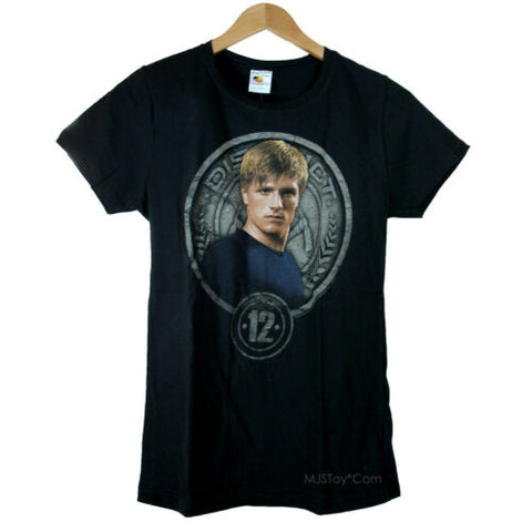 NEW The Hunger Games District 12 Peeta In Stone Seal Black Girl Junior T-Shirt