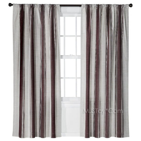 NEW Threshold One Window Treatment Panel Deep Red Awning Stripe Curtain 54x84