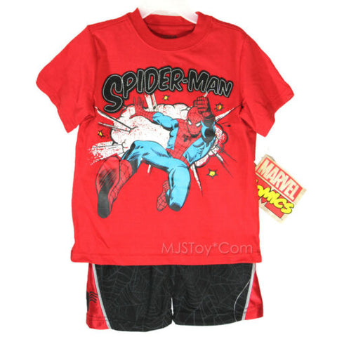 NWT Boy 2PC Outfit Set Red Spiderman Tee Marvel Spider-Man Jersey Short 3T/5T